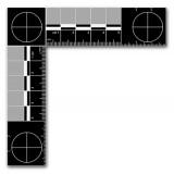 Metal Forensic Scale, White on Black, Metric, 105mm x 105mm