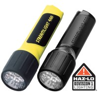 4AA LED with White LEDs and alkaline batteries in box. Yellow