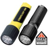 4AA LED with White LEDs and alkaline batteries.  Clam packaged .  Yellow